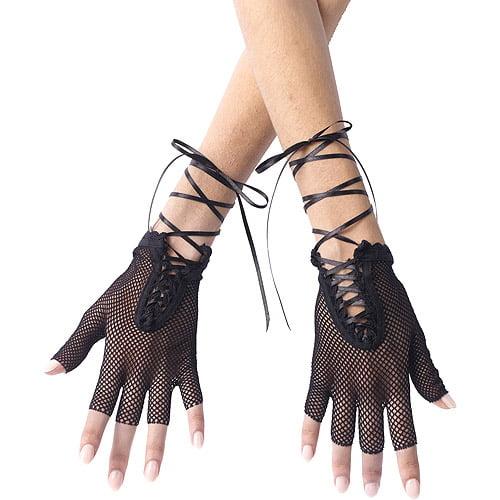 Black Fingerless Fishnet Gloves Adult Halloween Accessory
