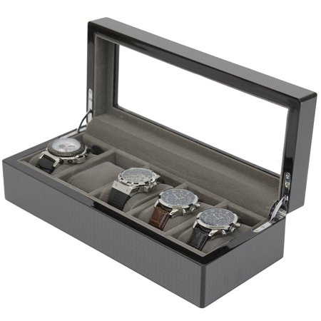 Carbon Fiber Finish Watch Box for 5 Watches Large Compartments High Clearance Glass (Tech Swiss Wood Watch Winder)