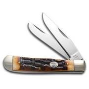 STEEL WARRIOR Crocodile Jigged Brown Bone Trapper Stainless Pocket Knife Knives