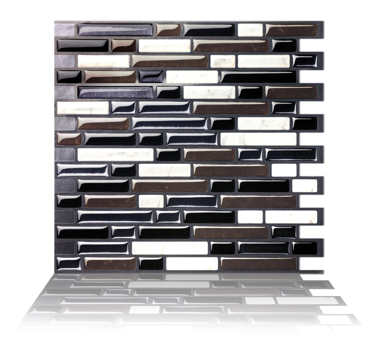 Tic Tac Tiles - Premium Anti Mold Peel and Stick Wall Tile Backsplash in Como Black