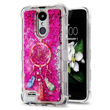 Rebel Floating - TUFF Liquid Floating Glitter Quicksand Waterfall Hybrid Silicone Gel Phone Protector Case - (Pink Dreamcatcher) and Atom Cloth for LG Rebel 3 4G LTE L157BL, L158VL