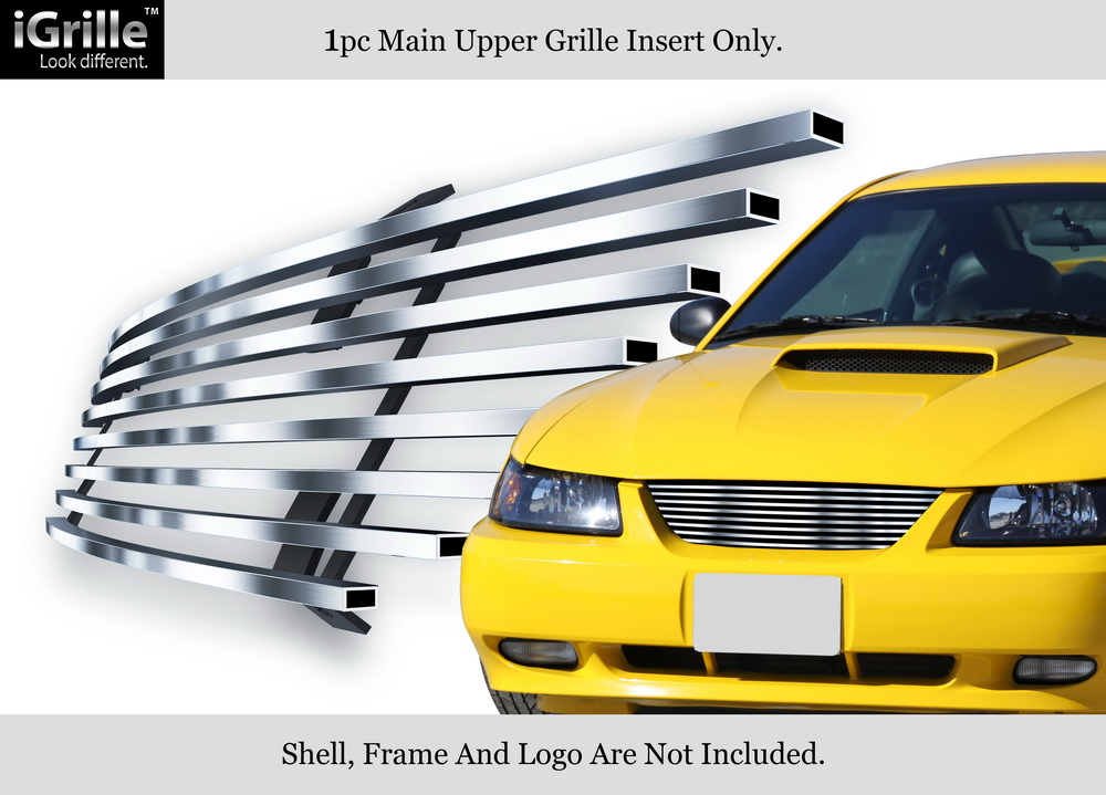 APS Compatible with 1999-2004 Ford Mustang B6 Base Hood Scoop Black Billet Grille Grill Insert F66011H