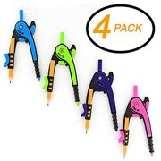 4PK Bright Colored PRPL GRN BLU & PNK Scale-Arm Compass w/ #2 Wood Pencil Used for Math and Geometry