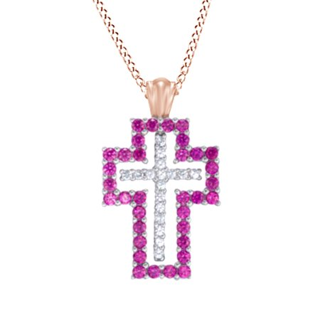 Simulated Ruby   White Sapphire Cz Interchangeable Double Cross Pendant In 14K Rose Gold Over Sterling Silver