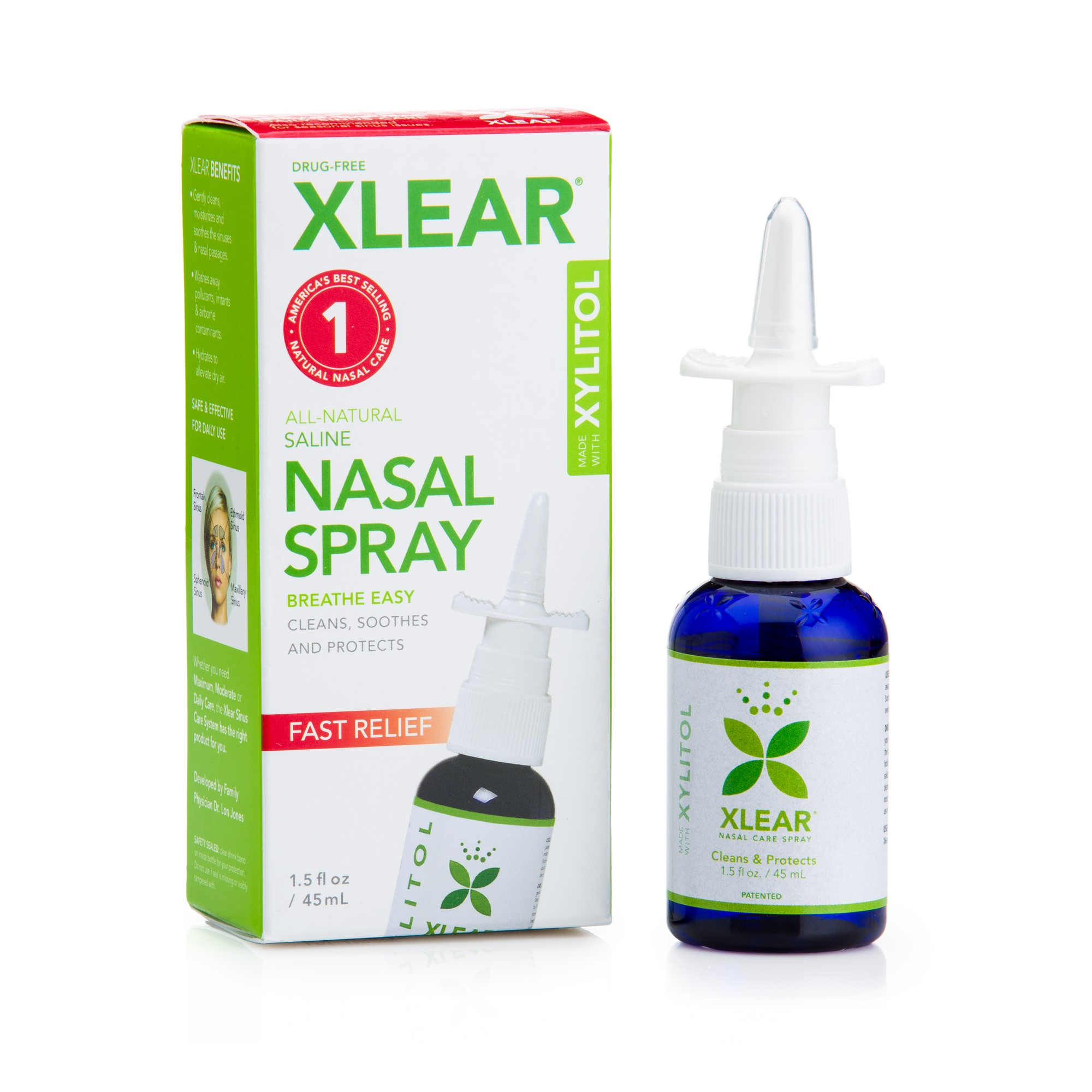 Xlear All Natural Saline Nasal Spray, 1.5 Fl Oz