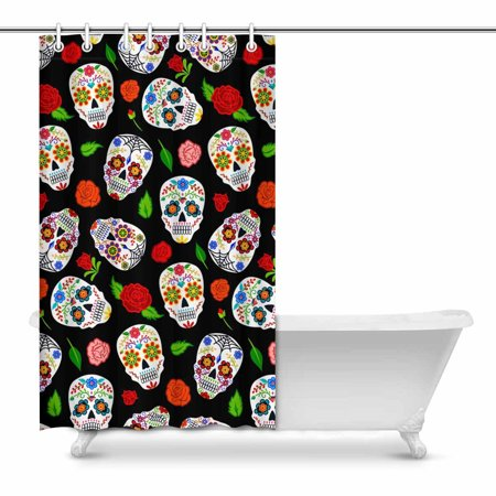 POP Mexican Dia Los Muertos Sugar Skulls and Roses Modern Art Shower Curtain 48x72 inch - image 1 of 1