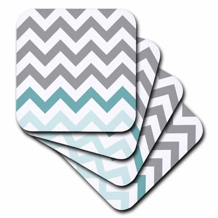 3dRose Grey chevron with mint turquoise zig zag accent gray zigzag pattern, Soft Coasters, set of 4 by