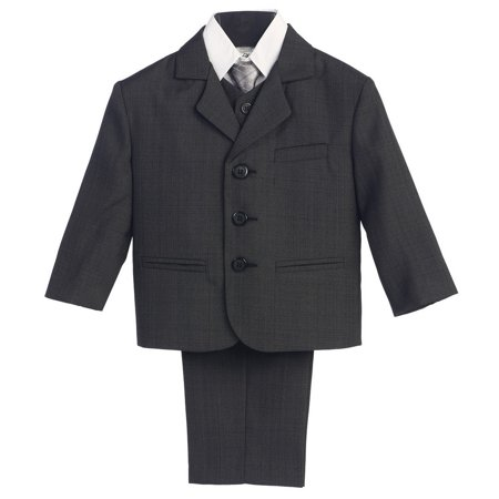 Little Boys Dark Grey Wedding 5 Pcs Special Occasion Suit 2-7](Grey Ring Bearer Suit)