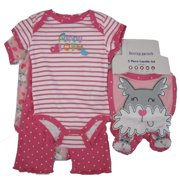 Baby Girls Pink Puppy Striped Bodysuit 5 Pc Layette Set 0-9M