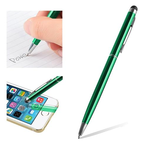 Insten 2in1 Stylus Pen for Touch Screen Universal Dark Green Capacitive with Ball Pen For Tablet CellPhone iPhone XS Max XS 7 8 6s 6 Plus iPad Air Pro Mini Samsung Galaxy S7 S8 S9 S10 S10e Plus Edge