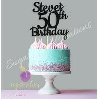 Custom Black Glitter 50th Birthday Cake Topper