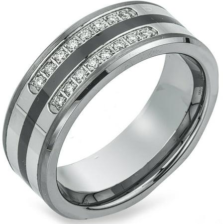 Men's 0.20 Carat T.W. Diamond Tungsten, Ceramic and Stainless Steel Wedding Band