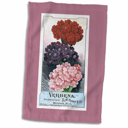 3dRose Verbena Pink, Red and Purple Flowers Vintage Seed Packet Reproduction - Towel, 15 by 22-inch