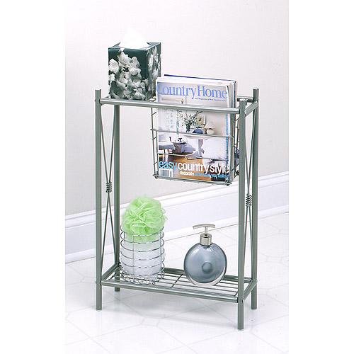 Magazine Rack For Bathroom | Cross Style Magazine Rack With Shelves Satin Nickel Walmart Com