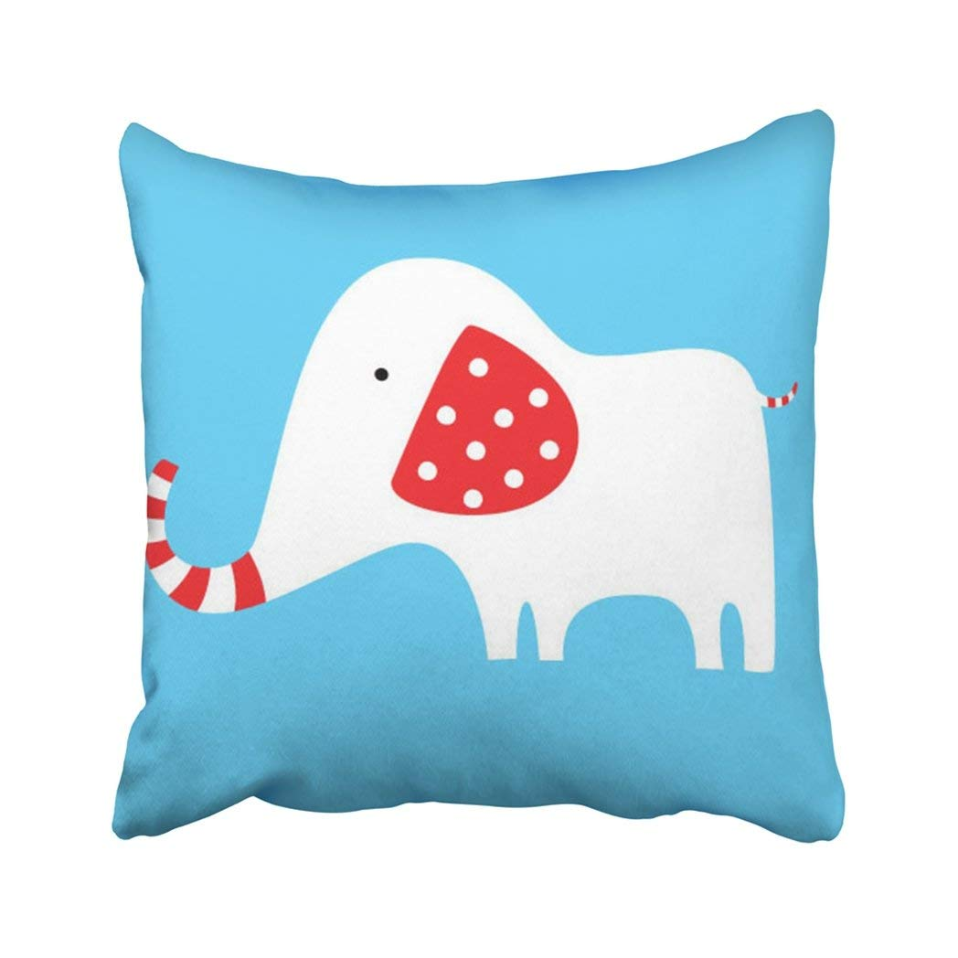 BPBOP Blue Cartoon Red And White Elephant Animal Baby Big Character Children Clip Comic Pillowcase Throw Pillow Cover Case 18x18 inches
