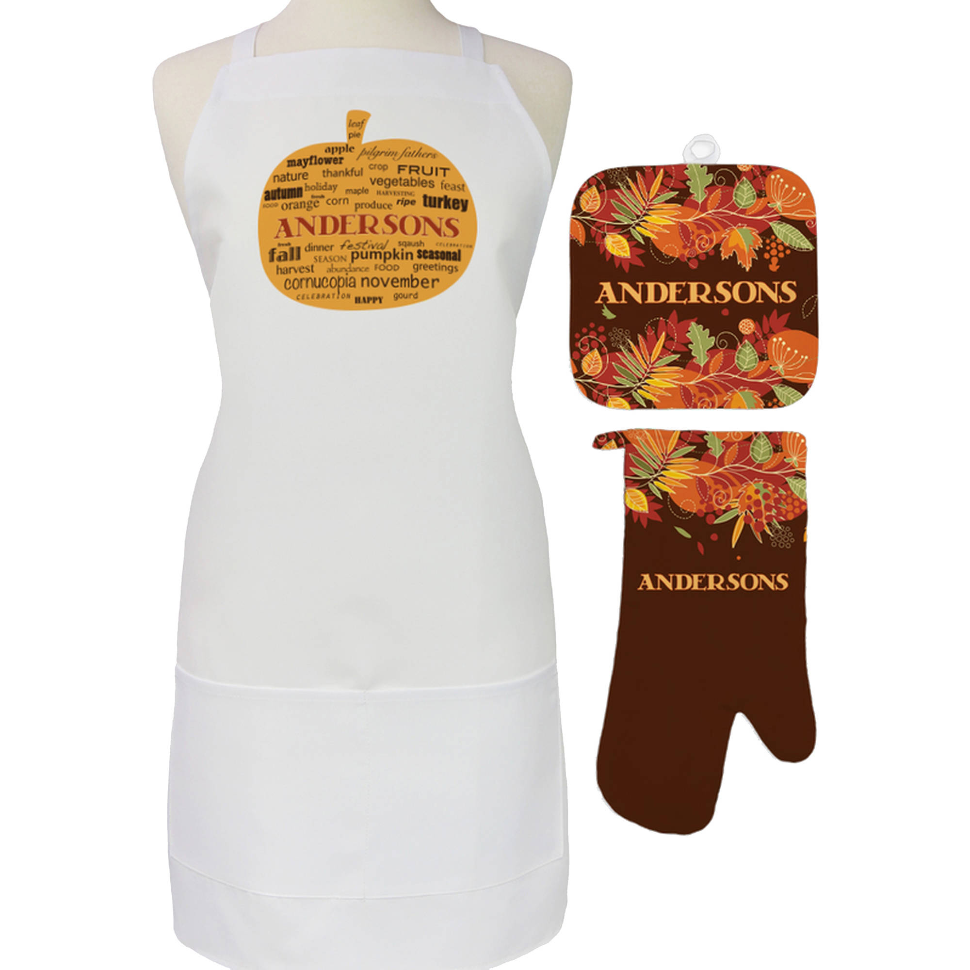 Personalized Fall Pumpkin 3-Piece Apron Potholder and Mitt Set