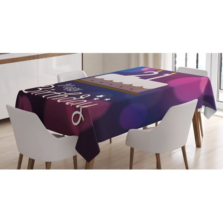21st Birthday Decorations Tablecloth Happy Quote With Stars On Abstract Pink Toned Image
