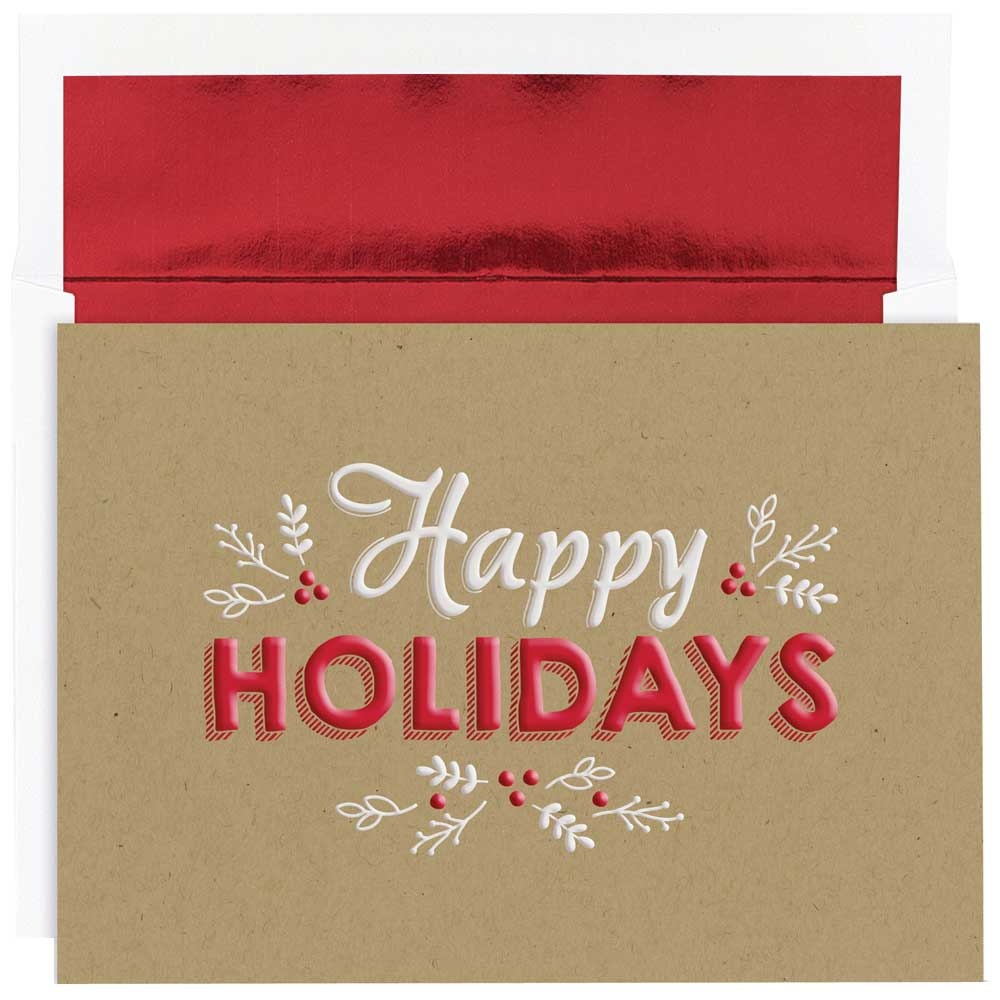 JAM Paper Christmas Card Set, Happy Holidays Kraft Christmas Cards, 16/pack