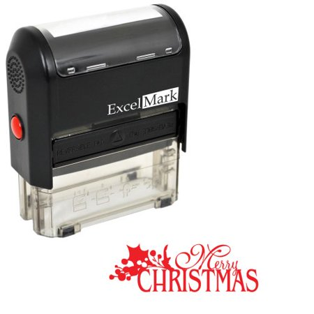 Self-Inking Christmas Rubber Stamp - MERRY CHRISTMAS - RED - Christmas Stamps