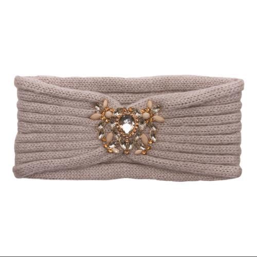 Womens Knitted Headband w/ Heart Piece