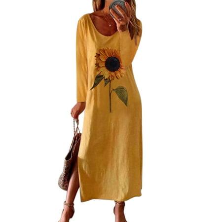 HIMONE Plus Size Women Baggy Maxi Dress Ladies Casual Loose Long Sleeve Kaftan T Shirt Dress Girls Boho Split A Line Dress Womens Crew Neck Daisy Print Swing Dress Tunic Dress