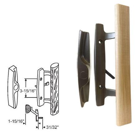 STB Sliding Glass Patio Door Handle Set, Mortise Type, Non-Keyed, Bronze, 3-15/16