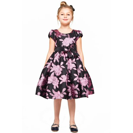 Good Girl Little Girls Pink Floral Jacquard Cap Sleeves Christmas Dress Pink Floral Jacquard