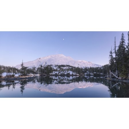 - Moon over Chugach mountains and Kings Bay Prince William Sound Whittier Southcentral Alaska USA Winter Stretched Canvas - Kevin Smith  Design Pics (21 x 11)
