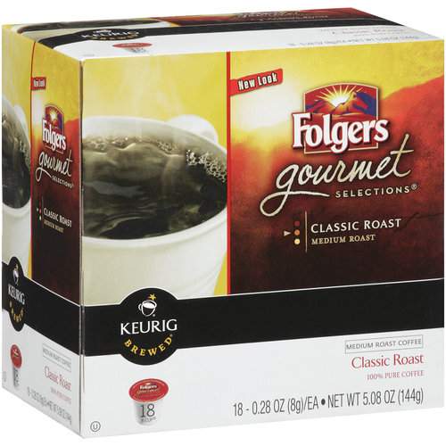 Folgers Gourmet Selections Classic Roast K-Cup Ground Coffee, 0.28 oz, 18 count