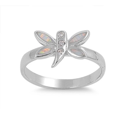 Dragonfly Tinkerbell White Simulated Opal Ring Sterling Silver Size 5](Tinkerbell Ring)