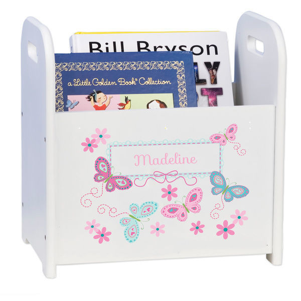 Personalized Butterflies aqua pink Caddy and Book Rack