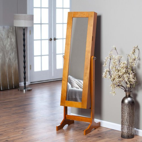 Modern Jewelry Armoire Cheval Mirror - Oak