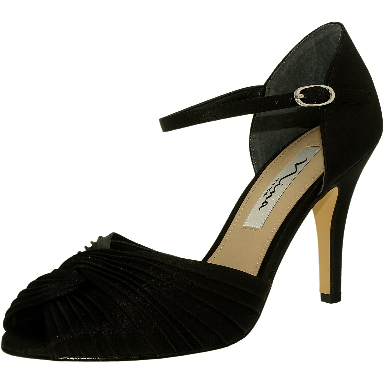 Nina Women's Ruby-Ls Satin Black Luster Ankle-High Pump - 8.5M