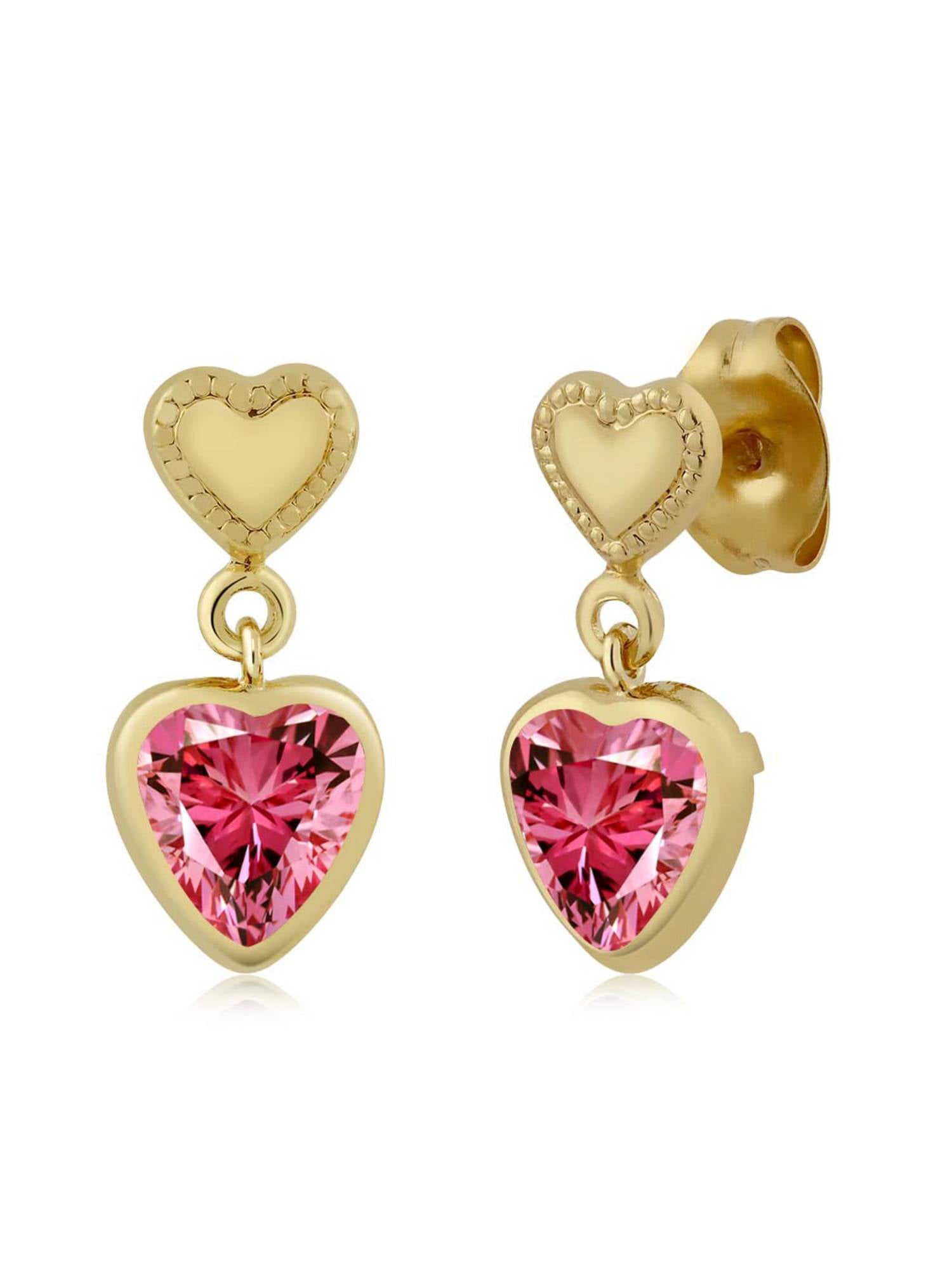 1.48 Ct Fancy Pink Brass Yellow Gold Plated Brass Earrings Made With Swarovski Zirconia by