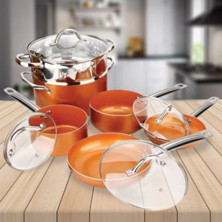 Circulon Chefs Pan - 10 Piece Cookware Copper Pan Set Induction Bottom Nonstick Chef Steamer Skillet Sauce Fry Pan