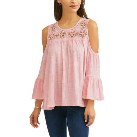 ee2af93a1ef64e Time and Tru - Women s Long Sleeve Lace Cold Shoulder Peasant Top ...