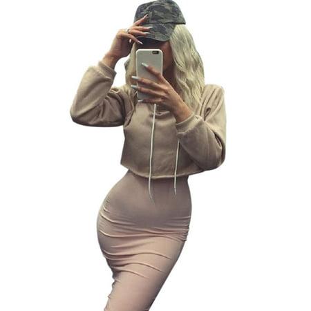 ca8faae0e44 Womens Crop Tops Pullover Hooded Sweatshirt Long Sleeve Cropped Hoodies
