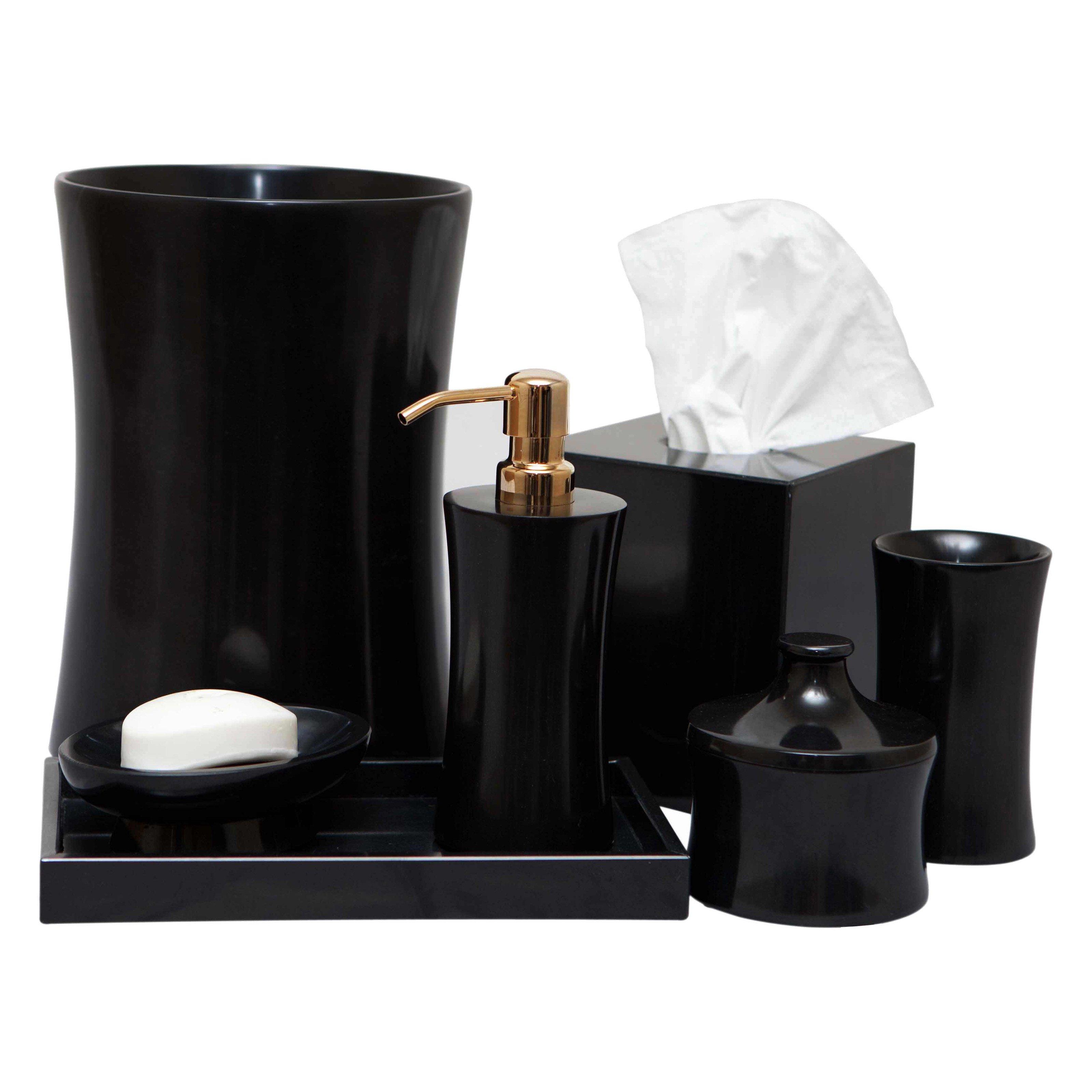 Vinca 7-Piece Bathroom Accessories - Jet Black Marble