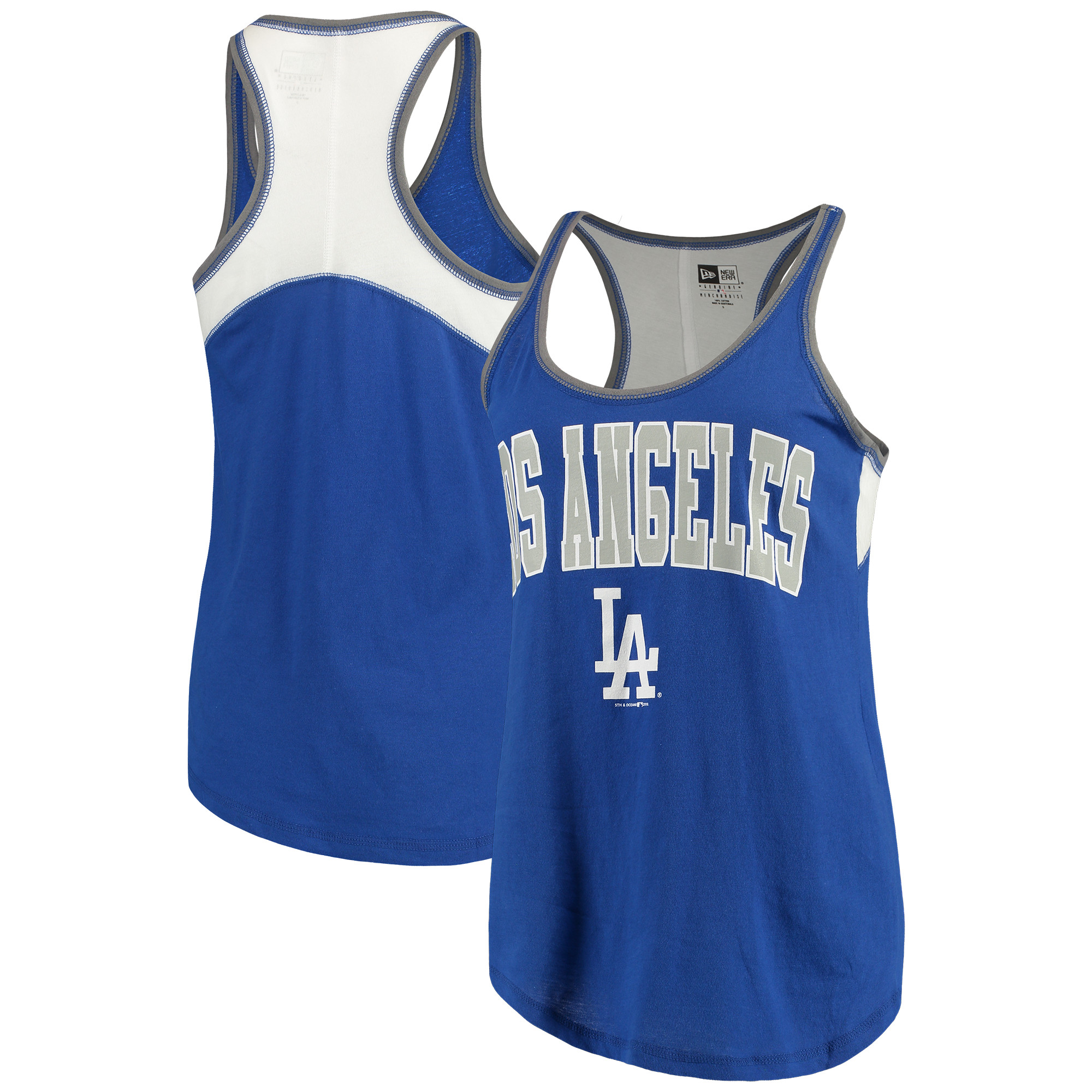 Los Angeles Dodgers 5th & Ocean by New Era Women's Baby Jersey Racerback Tank Top - Royal