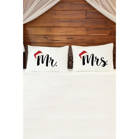 One Bella Casa 74375PCE59 15 x 19 in. Mr Mrs Santa Hat Pillowcases - Black & Red, Set of 2 - Mr And Mrs Pillowcases