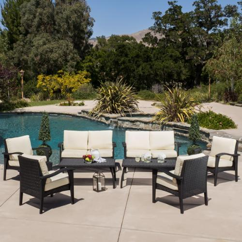 Reno Outdoor 8-Piece Black Wicker Seating Set & Cushions