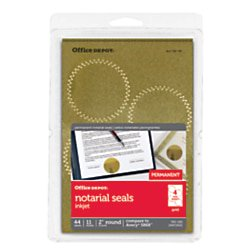Office Depot Permanent Self-Adhesive Notarial Seals, 2in. Diameter, Pack Of 44, OD98782 Round Office Seals