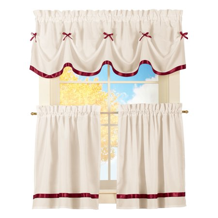 3 Drawer Panel - Dainty Bow Classic Curtain Tier Set Rod Pocket 3 Piece Kitchen Cafe Curtain Set with 2 Panels and Valance, 24
