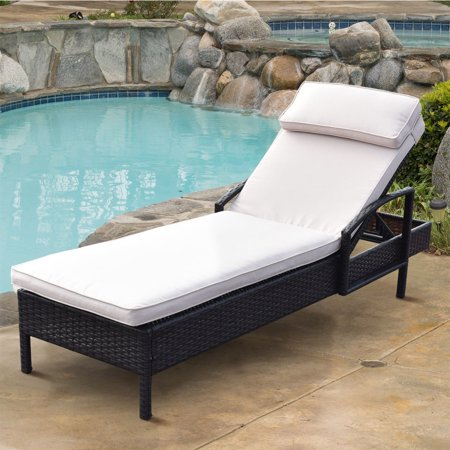 Gymax Outdoor Patio Wicker Rattan Chaise Lounge Chair Adjustable Backrest with Pillow ()