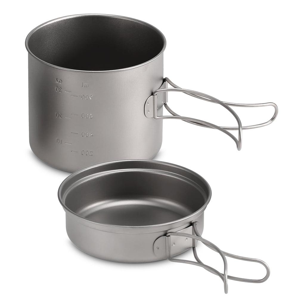 1100ml 1600ml Titanium Pot Pan Set Super Lightweight Camping Cookware Set Portable Cooking Tool With Folding Handle Walmart Canada