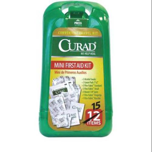 CURAD CURMINIFAK First Aid Kit, Bulk, Green, 15Pcs, 1 to 2Ppl