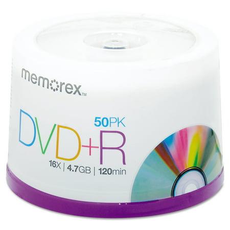 Memorex DVD+R Discs, 4.7GB, 16x, Spindle, Silver, 50/Pack