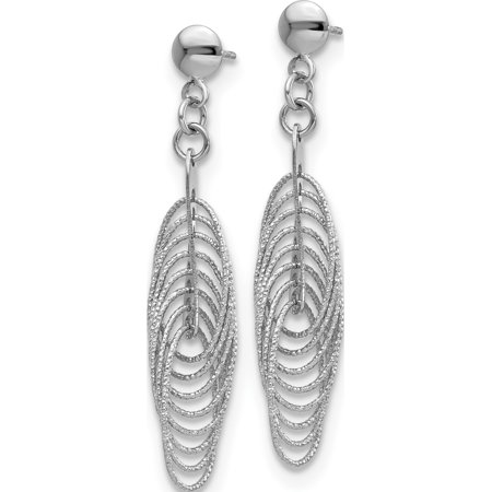 Leslie's 14K White Polished & Textured Fancy Dangle Post Earrings (45x8) - image 2 of 3