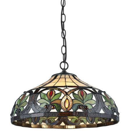 Inverted Hanging (Serena d'italia Tiffany 2-Light Sunrise Bronze Hanging)