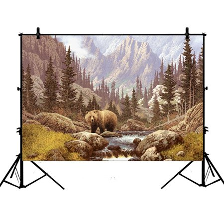 YKCG 7x5ft Home Decor Grizzly Bear in the Rocky Mountains Photography Backdrops Polyester Photography Props Studio Photo Booth Props ()